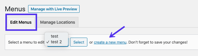 The create a new menu link at the top of the WordPress menu editor