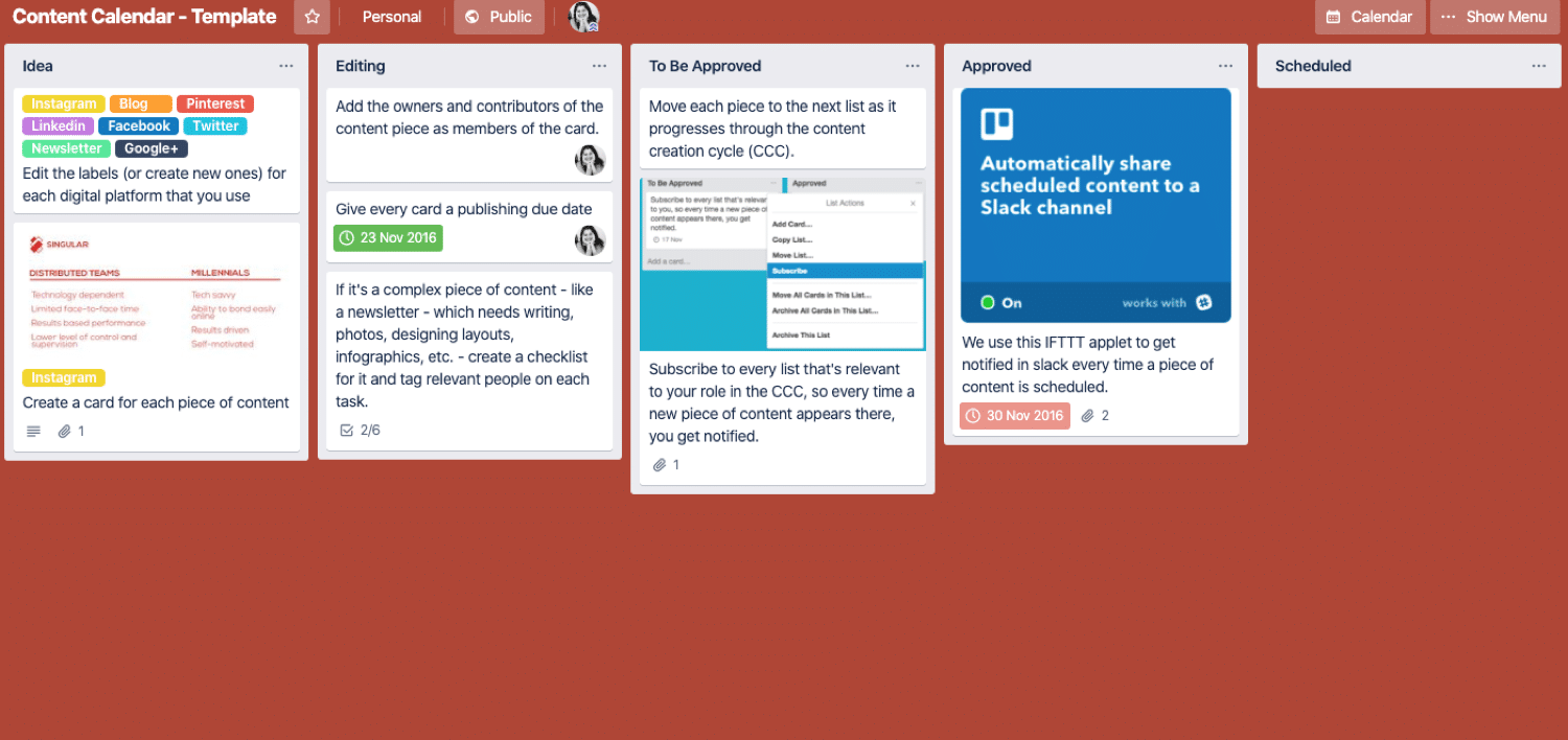 Editorial calendar Trello board