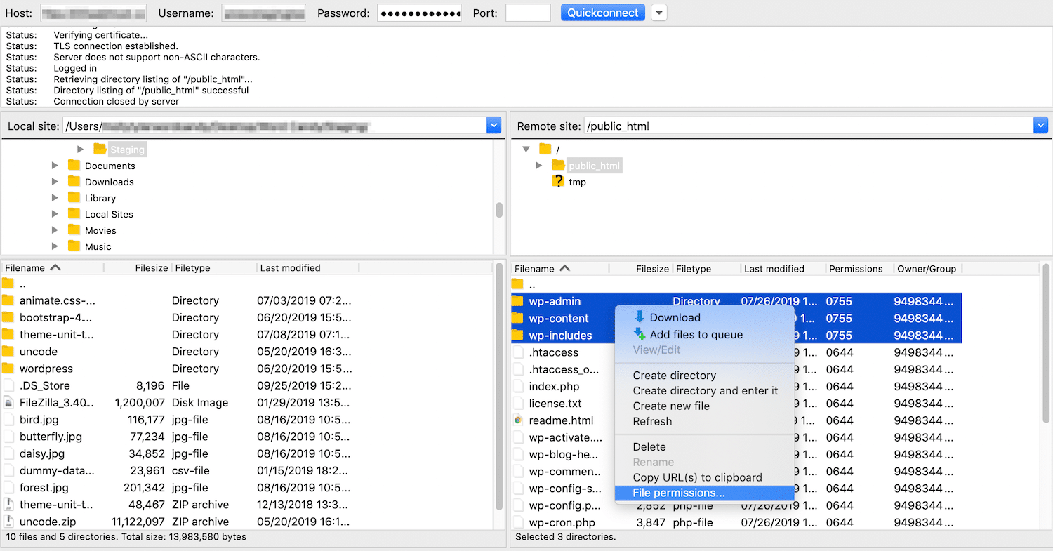 ftp file permissions