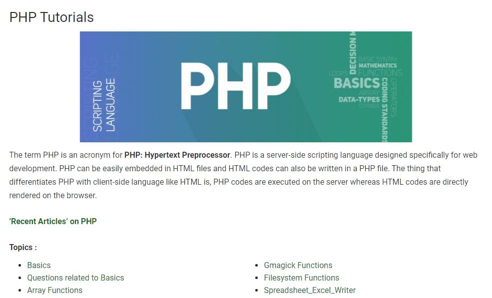 Best PHP tutorials - geeksforgeeks php