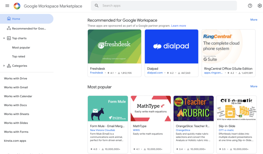 Gmail add-ons page in Google Workspace Marketplace