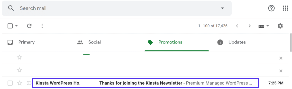 kinsta newsletter autoresponder message