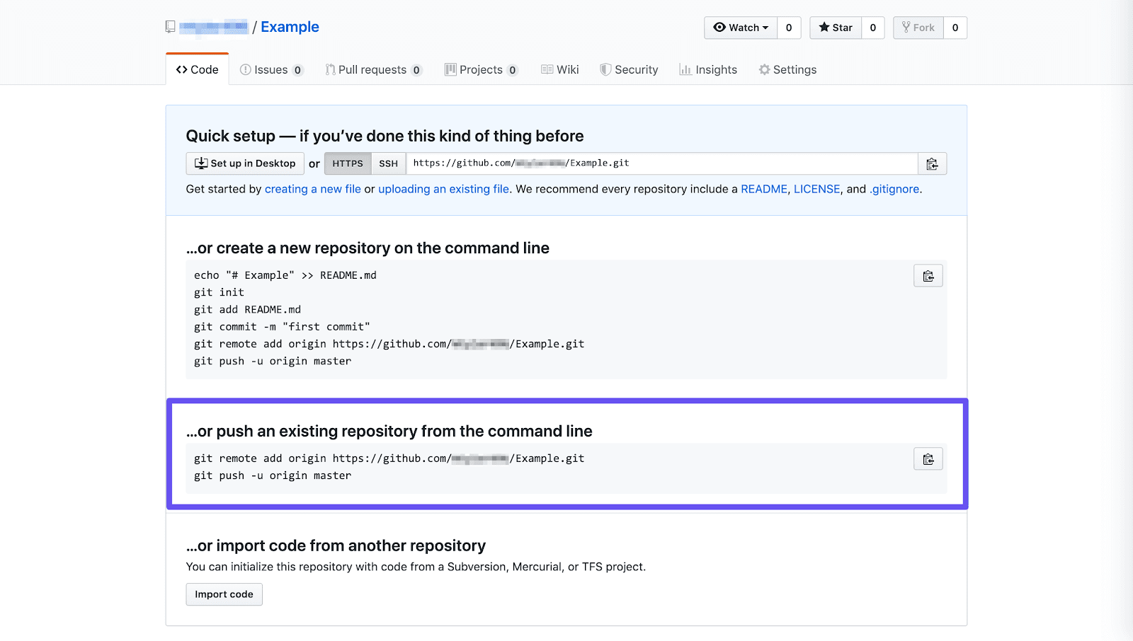 push existing repository