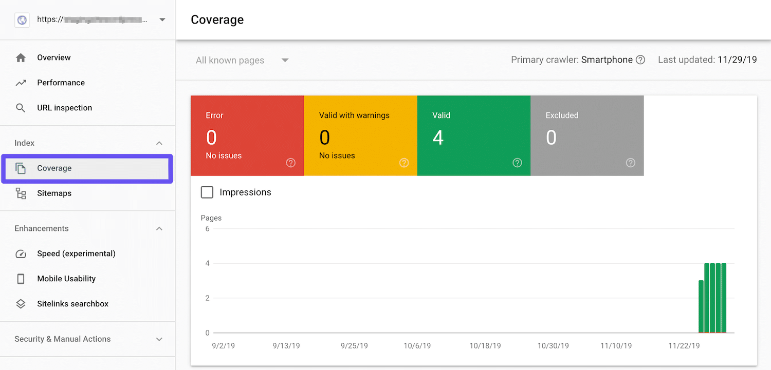search console coverage