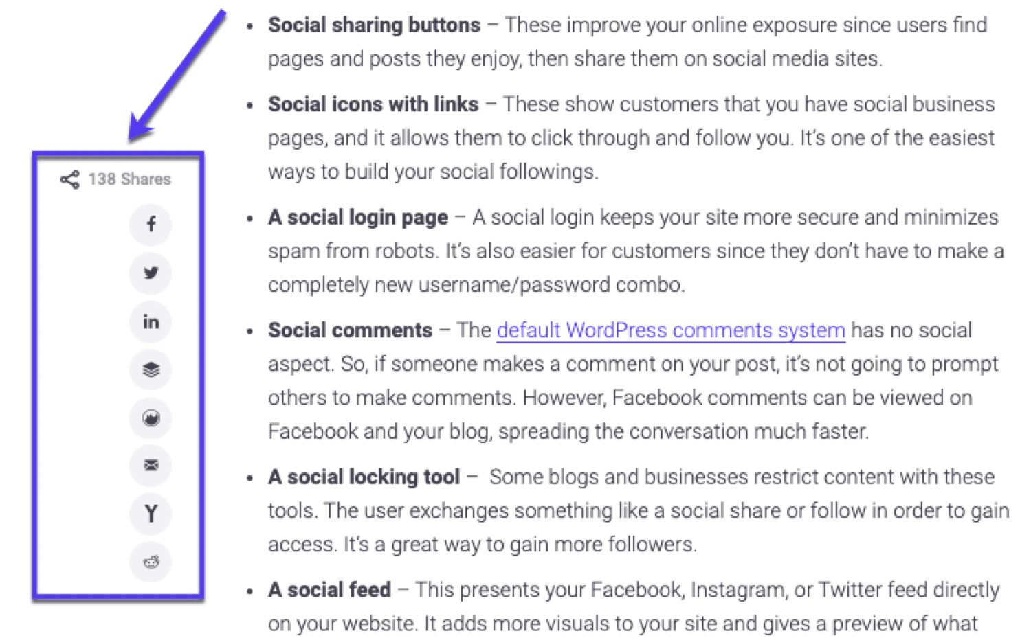 An example of social share buttons