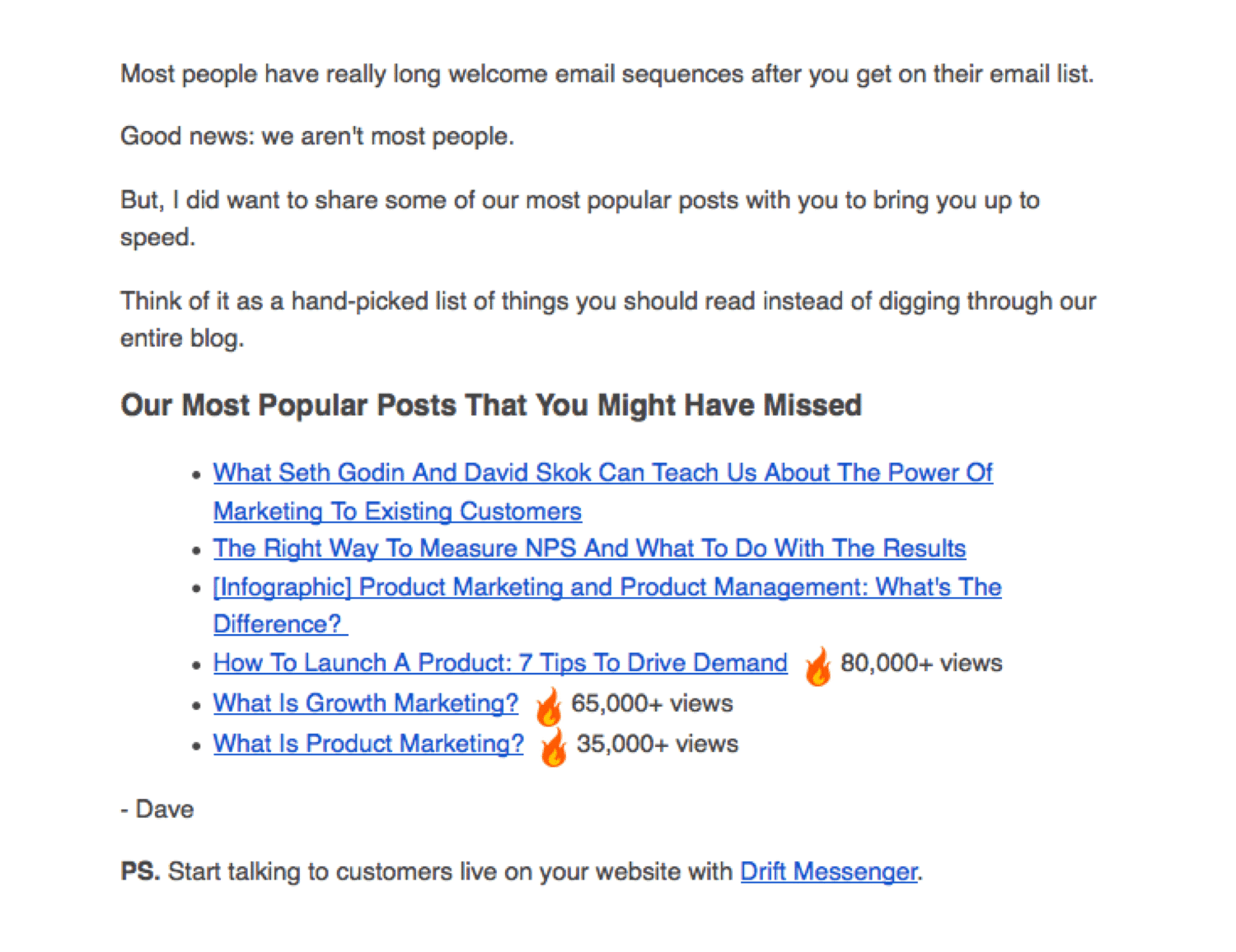 Welcome email example by Drift