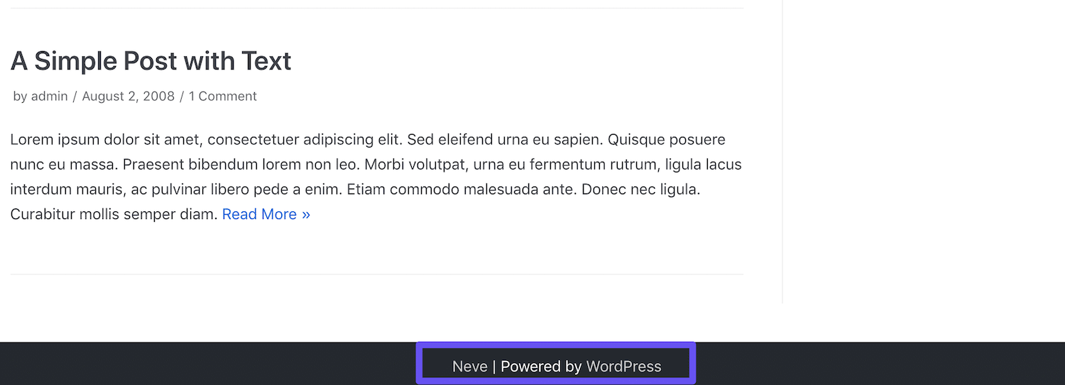 wordpress default footer