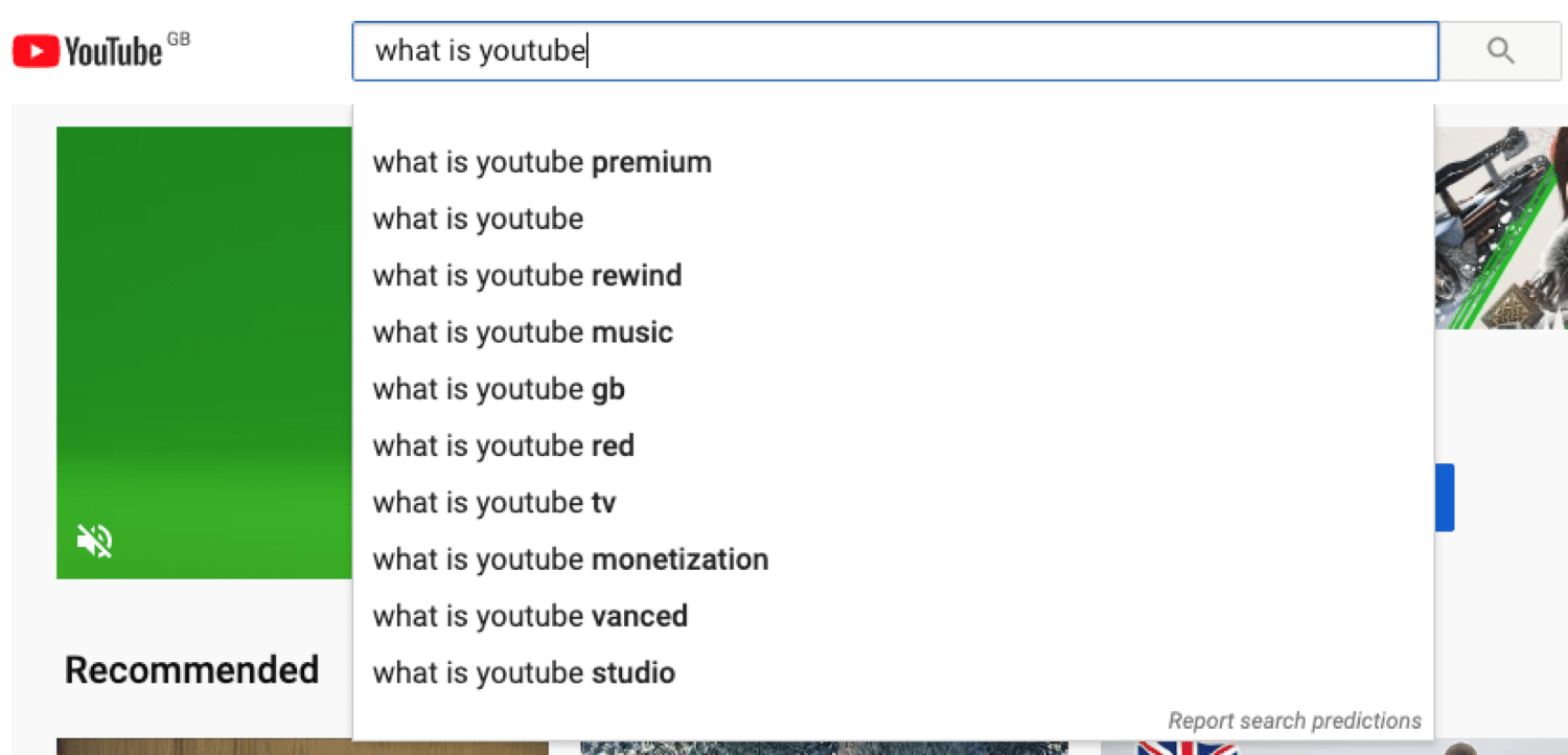 YouTube search works like Google