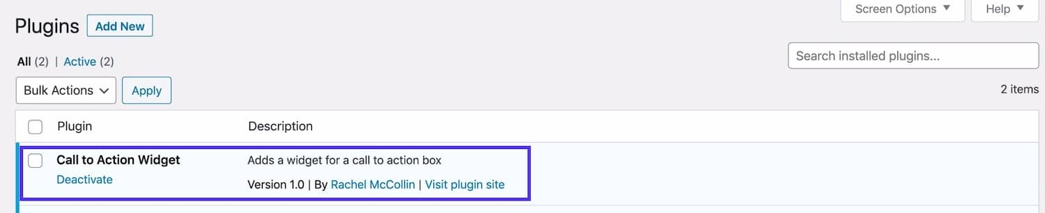 Widget plugin in plugins screen