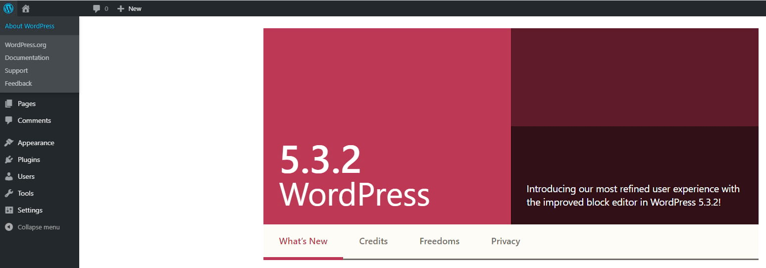 check WordPress version: About WordPress screen
