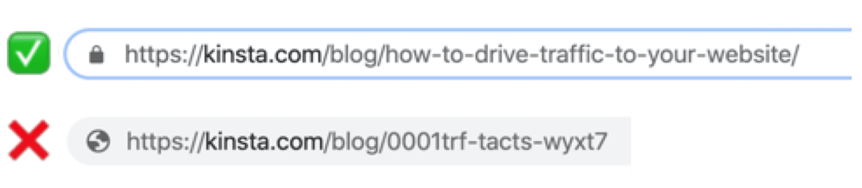 En bra (& beskrivande) URL vs en rörig och förvirrande URL.