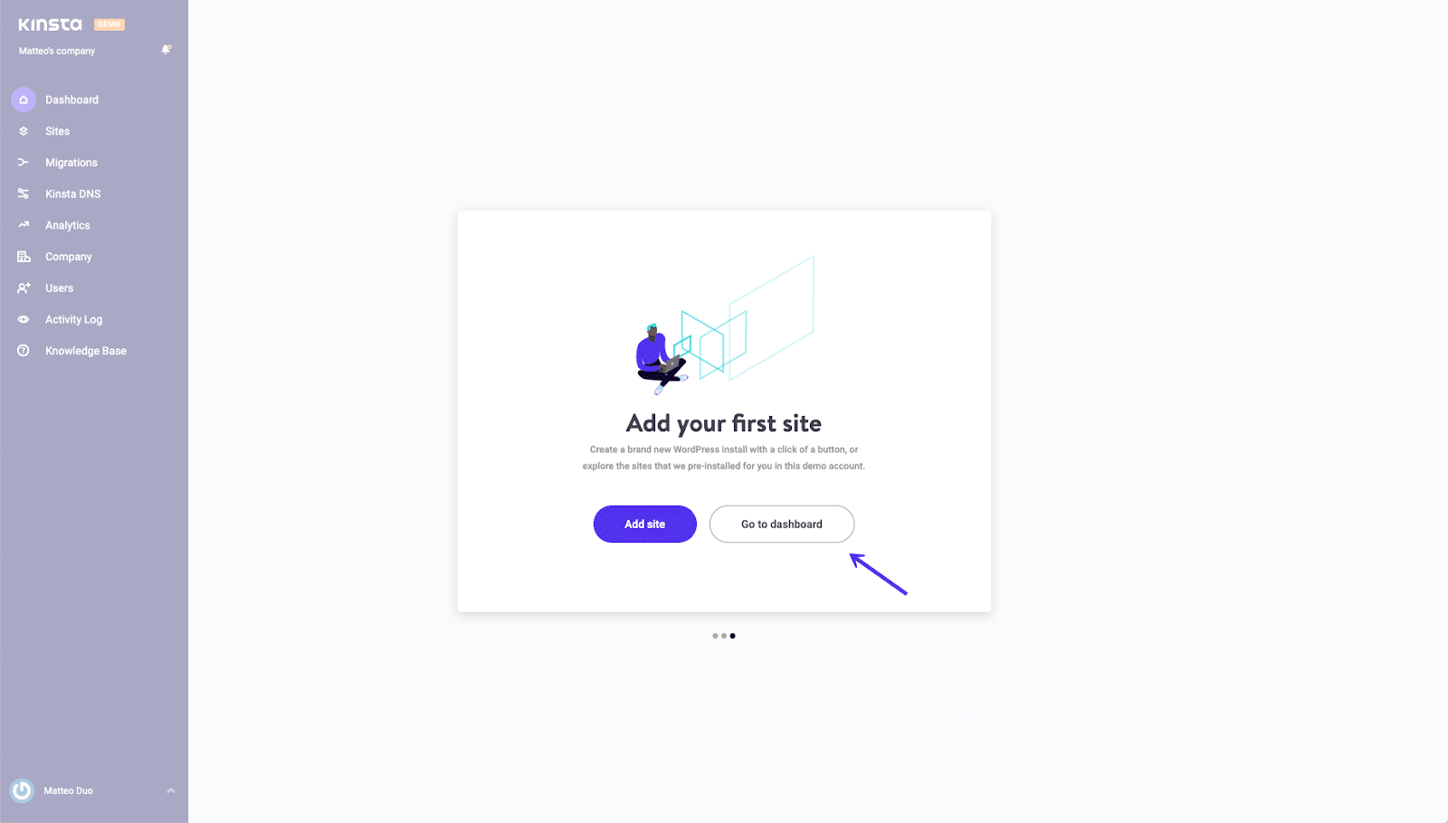 mykinsta account dashboard