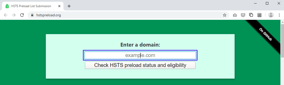 Submission form for HSTS preload list on hstspreload.org