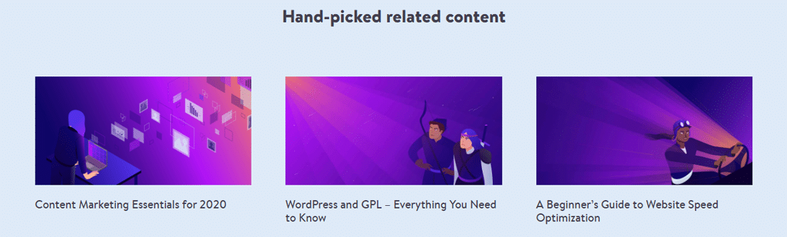 """Kinsta's """"Hand-picked Related Content"""" section"""