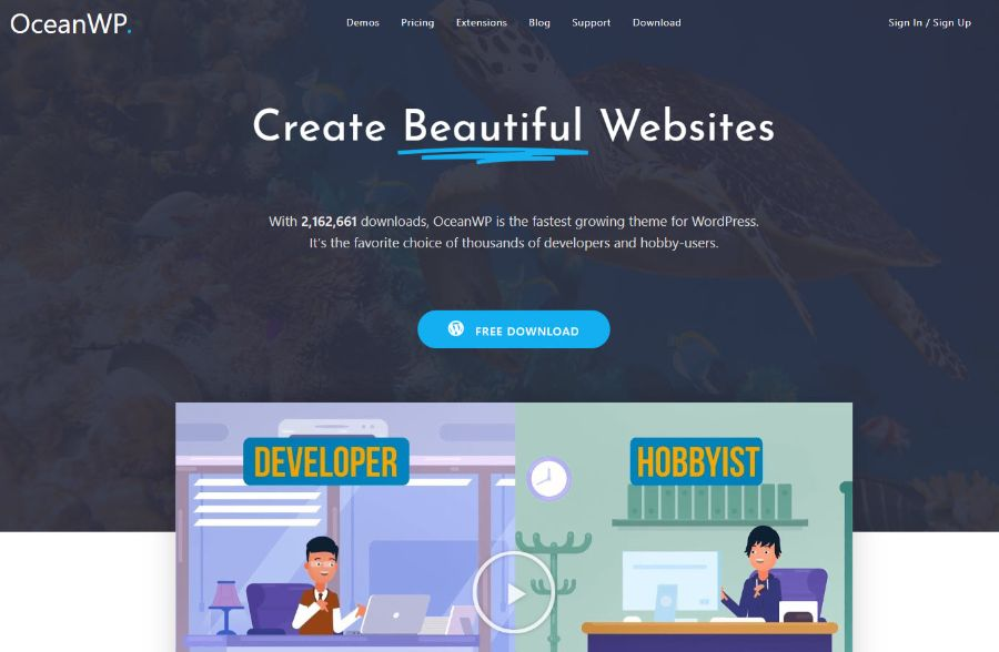 ocean wp - WordPress membership theme
