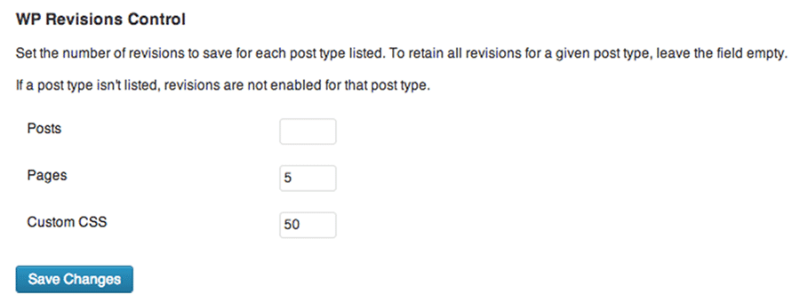 Using the WP Revisions Control plugin to limit the number of post revisions