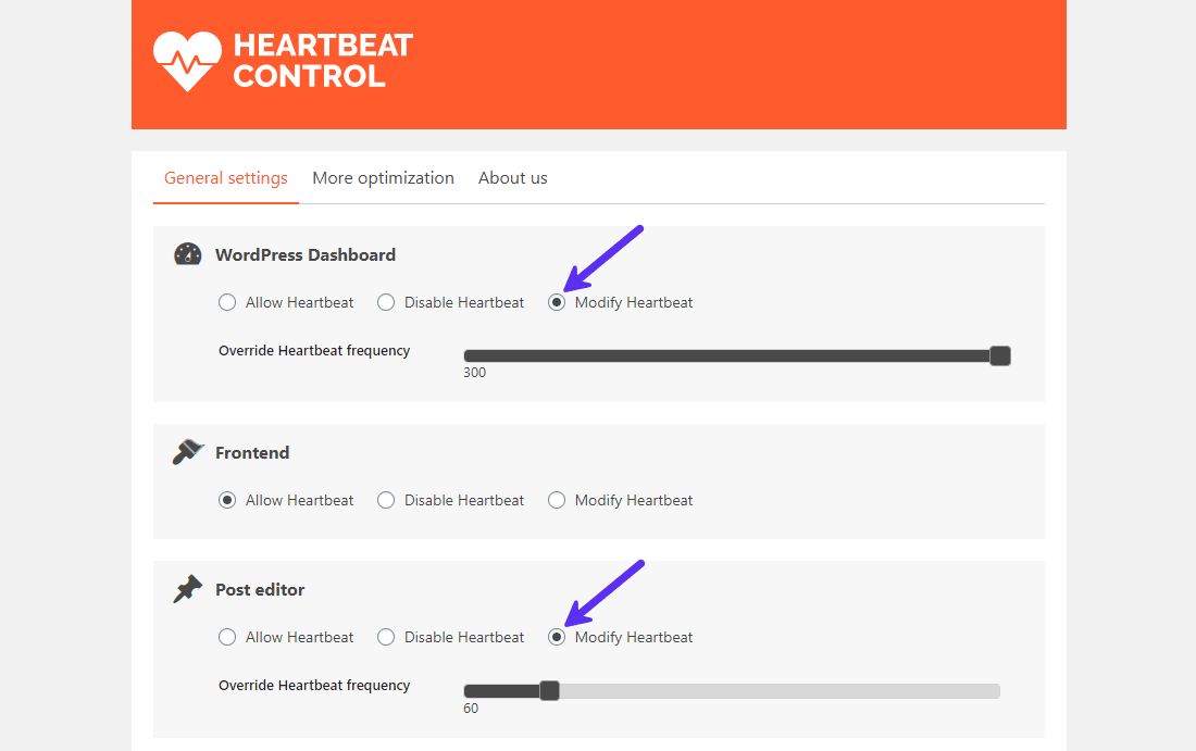 WordPress Heartbeat Control plugin panel