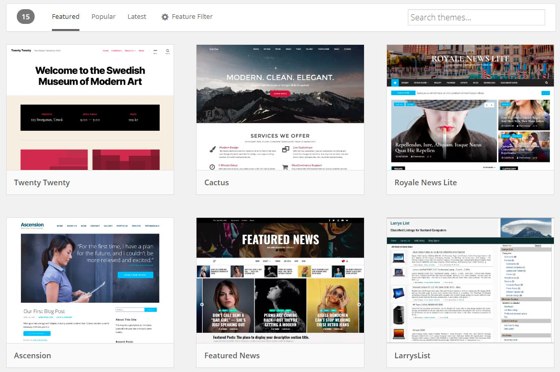 Featured themes on WordPress.org