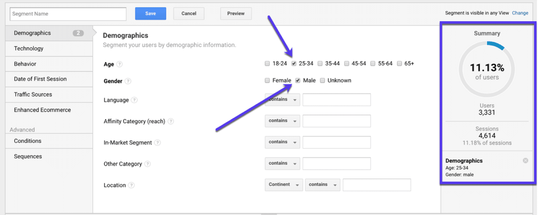 Segmenting based on demographics in Google Analytics