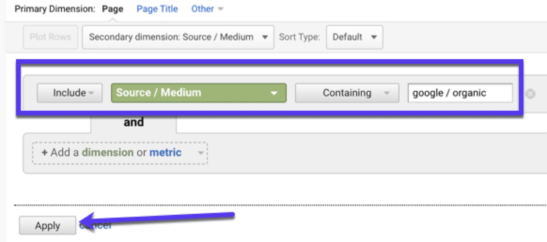 Filter by organic (aka SEO traffic) in Google Analytics