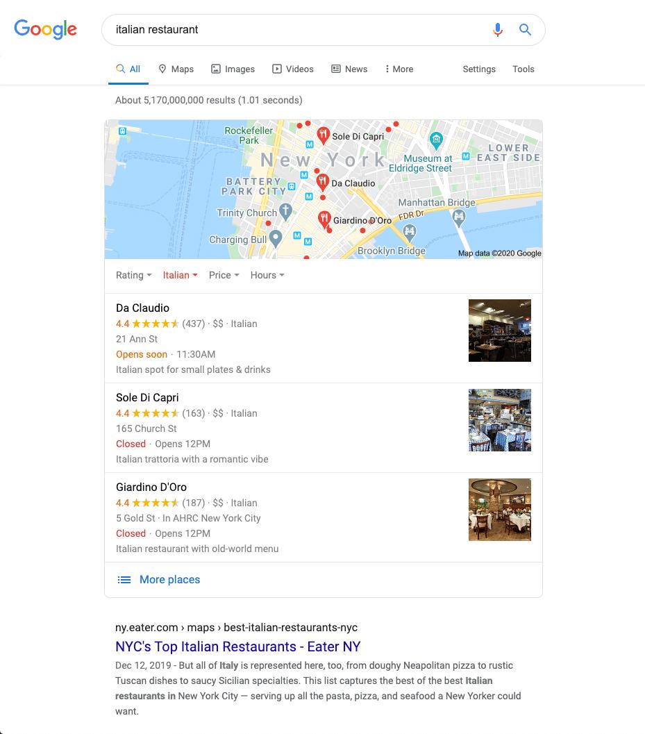 Voorbeeld van een lokaal zoekresultaat in Google voor 'Italian restaurant'