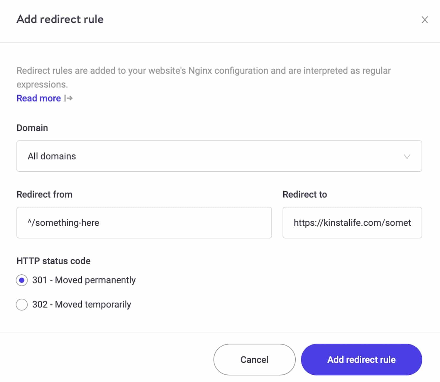 The new redirects tool in the MyKinsta dashboard.