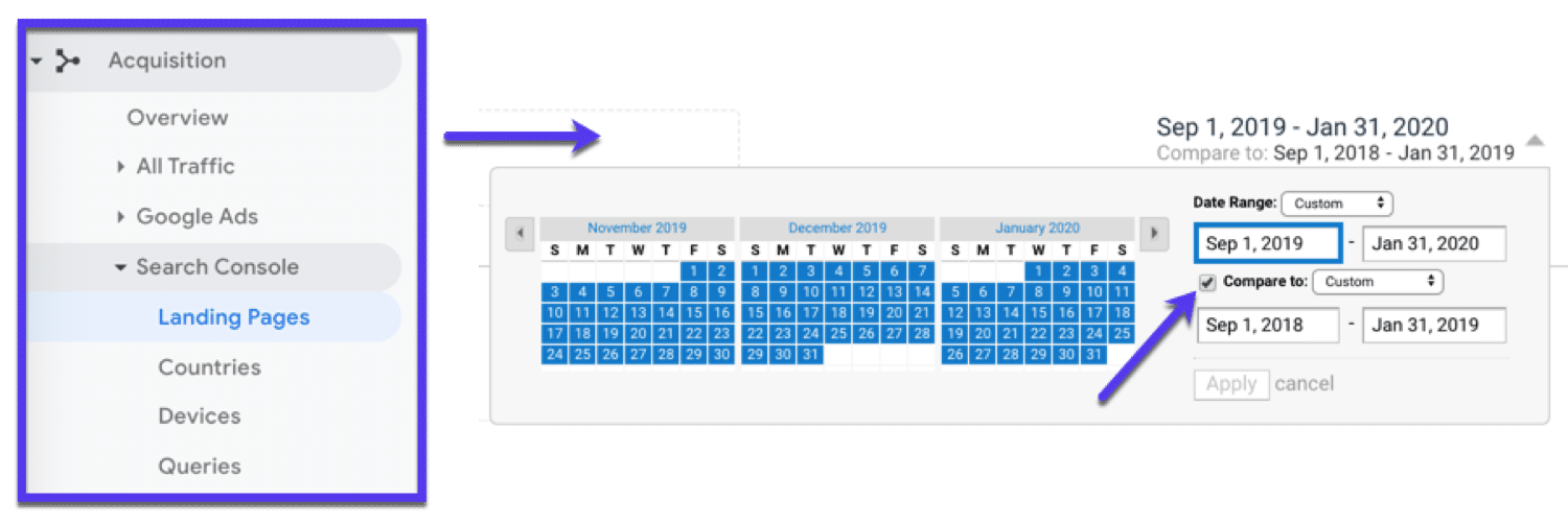 View landing page performance over a specific timeframe
