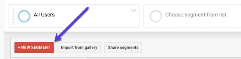 Adding a new segment in Google Analytics
