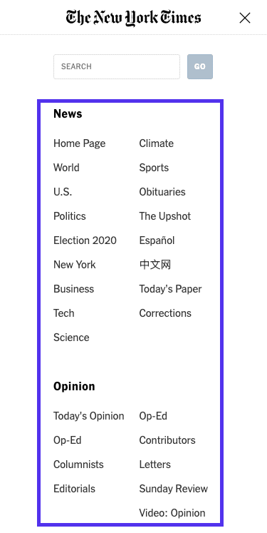 Website navigation of NYT homepage (mobile)
