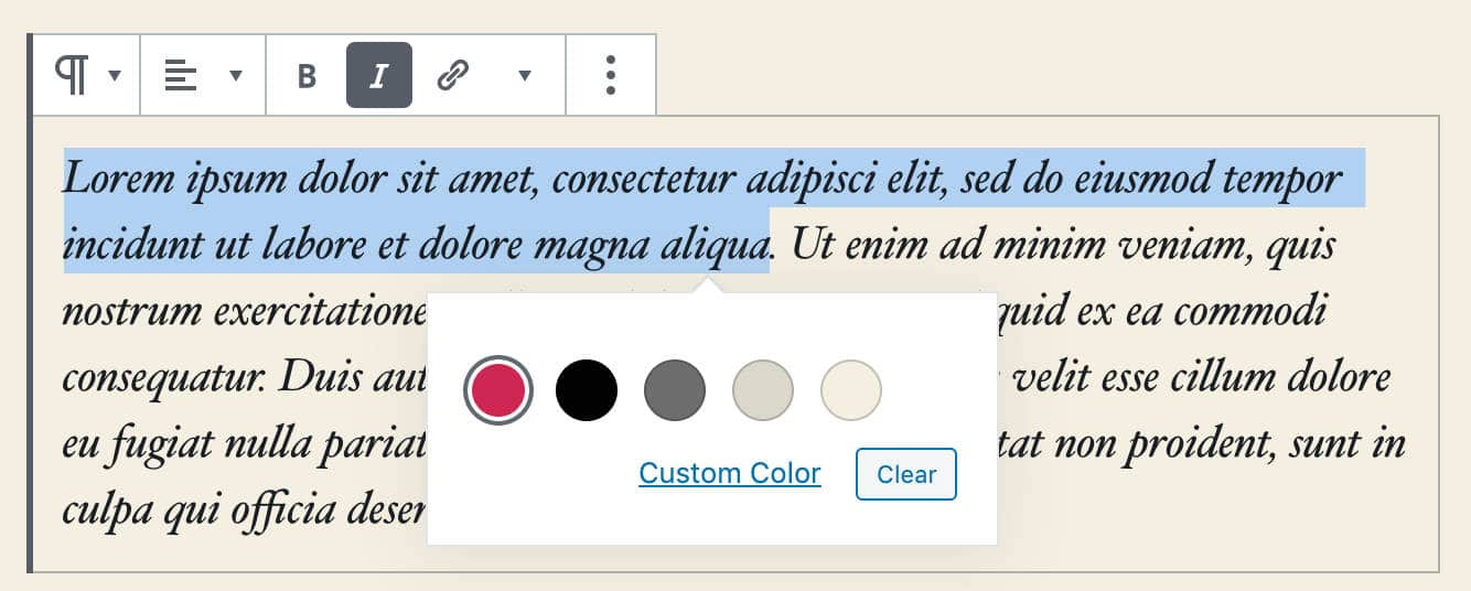 WordPress 5.4: RichText color