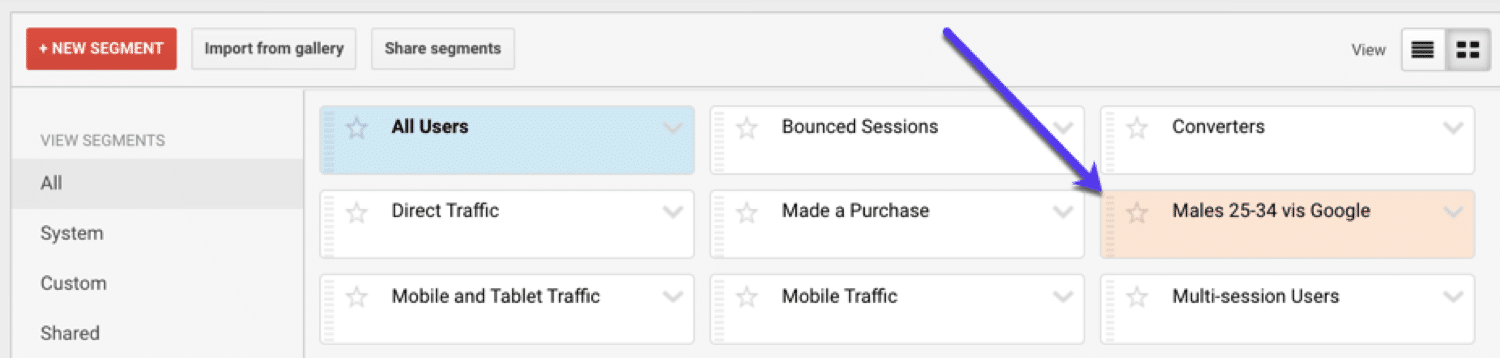 Finding and applying your custom segments in Google Analytics