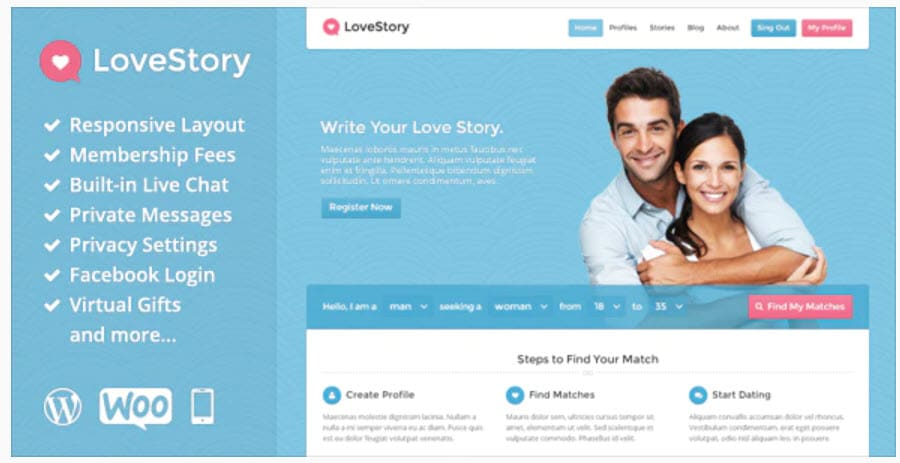 LoveStory - WordPress membership theme