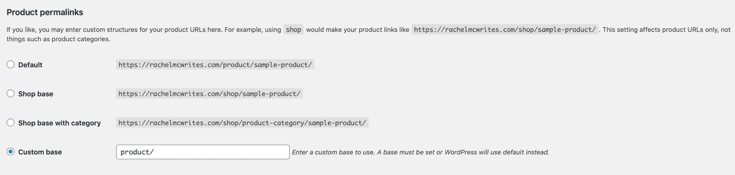 Product permalinks settings