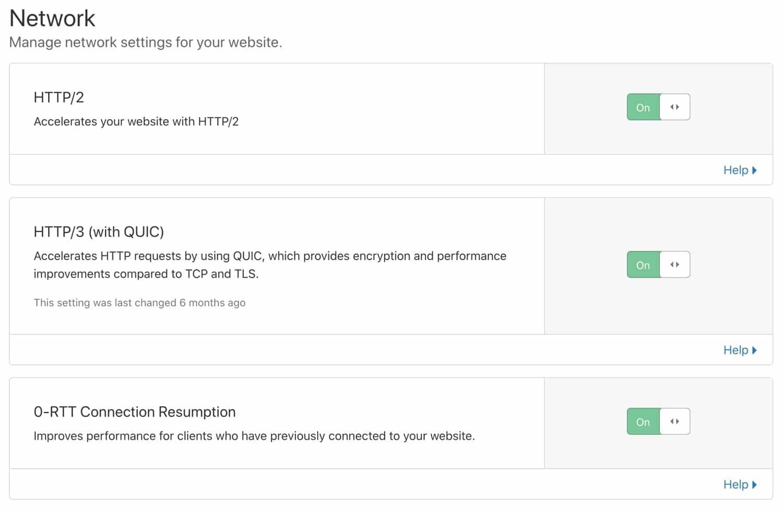 Aktivera HTTP/2, HTTP/3 och 0-RTT Återupptagande av anslutning.