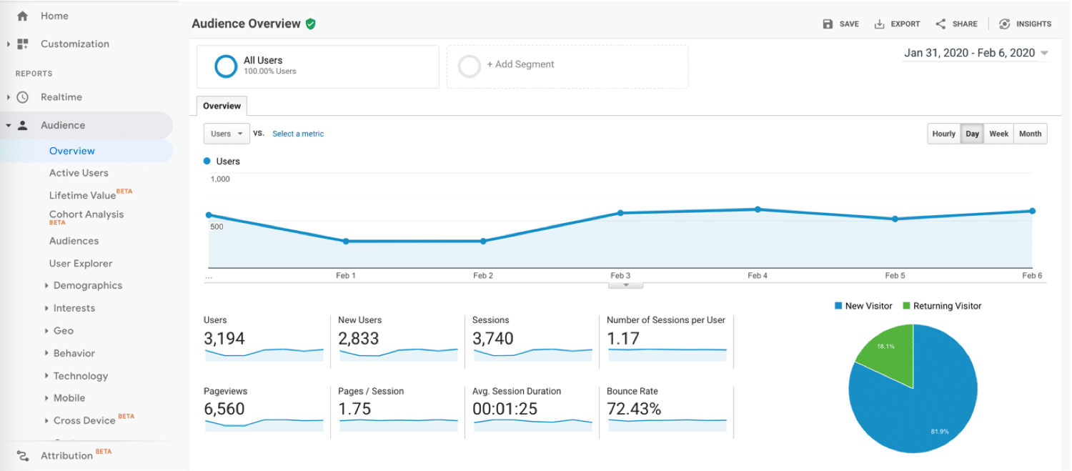 Audience overview inside Google Analytics