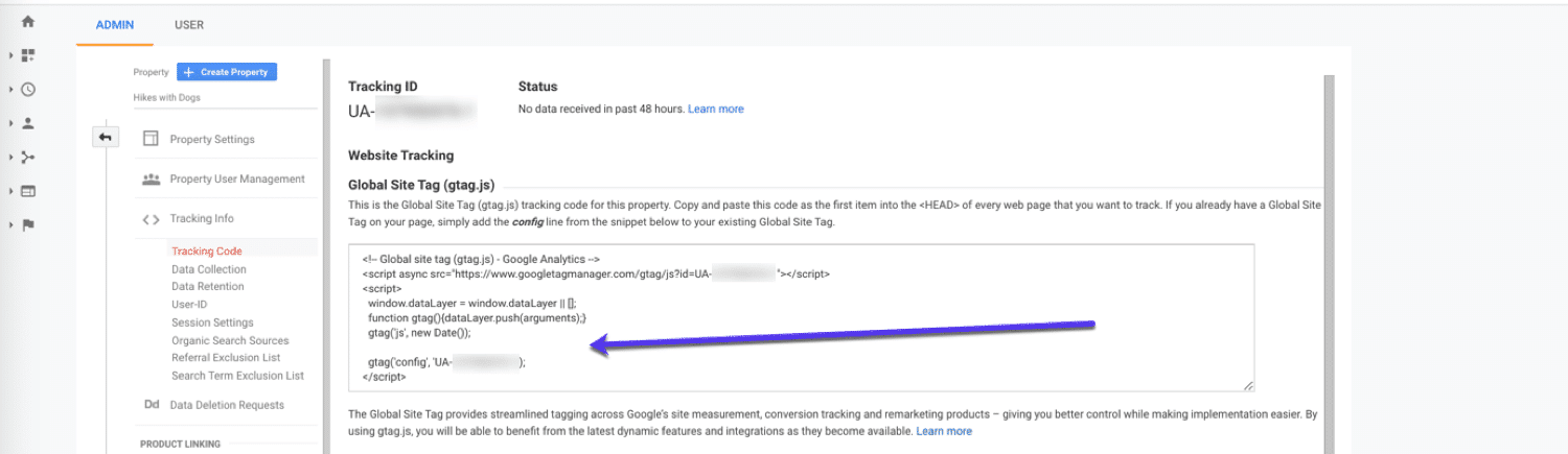 Install your Google Analytics tracking code
