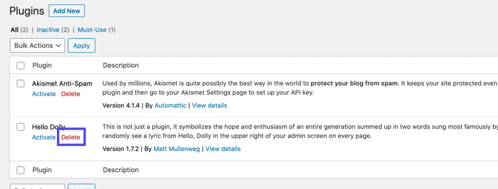 """The """"Delete"""" link for a plugin on the Plugins page."""