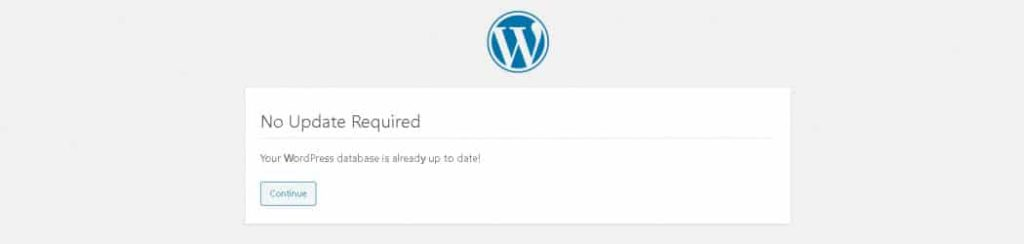 "The WordPress ""database is already up-to-date"" error example."
