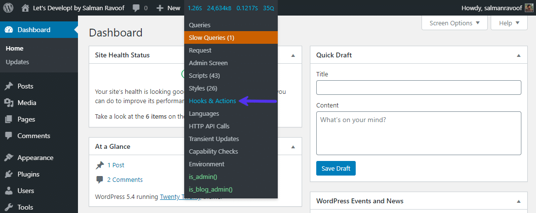 Access Query Monitor from the admin bar