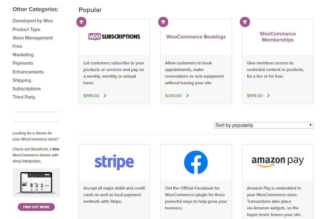 WooCommece's page on its most popular extensions
