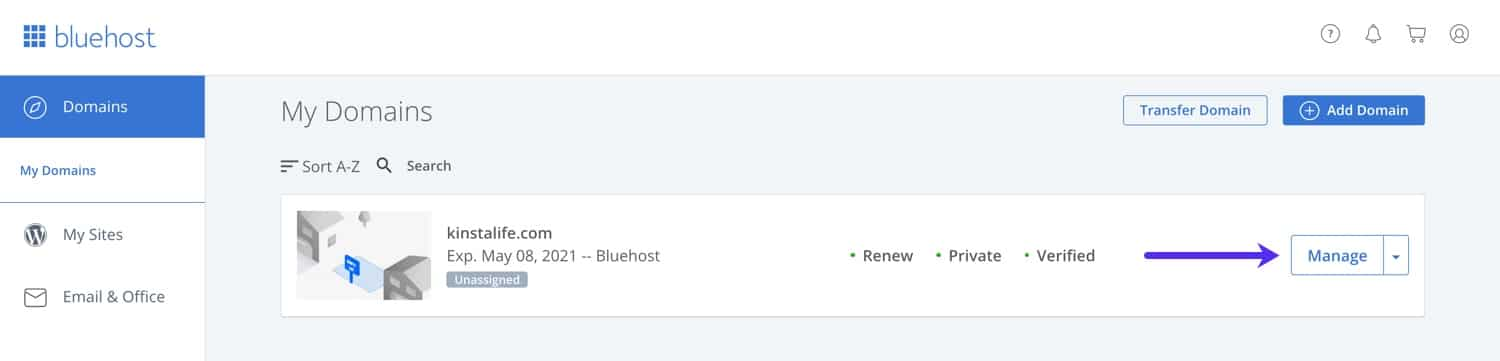 Bluehost domain management dashboard.