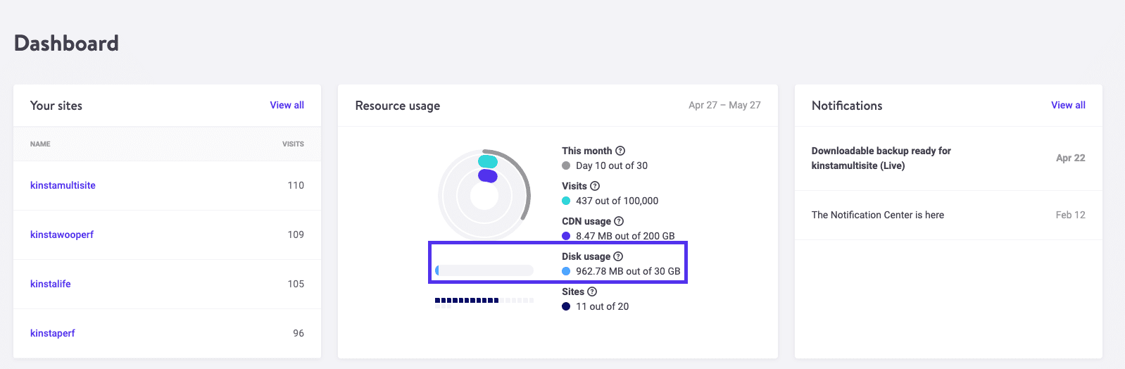 Disk usage in MyKinsta