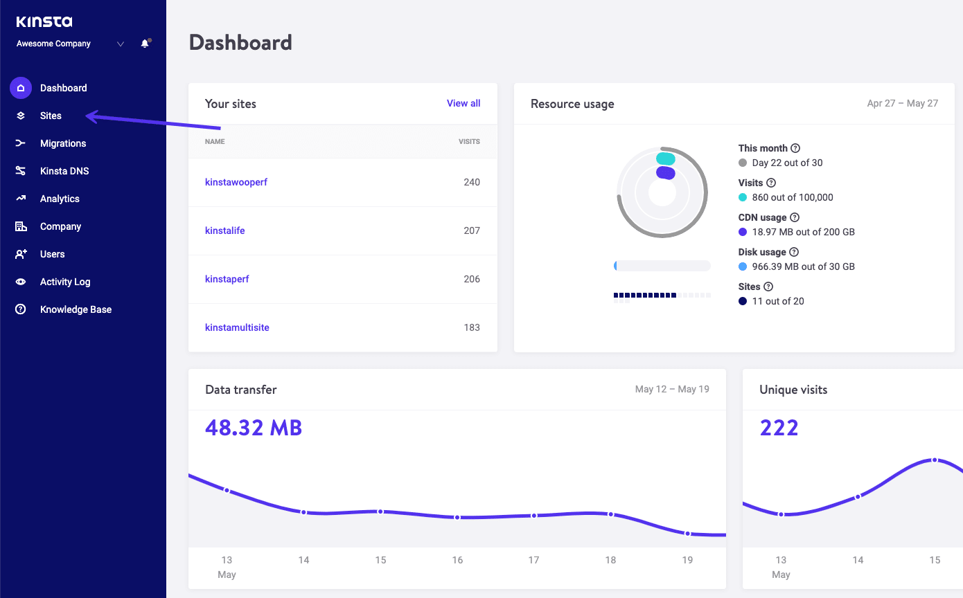 Sites tab in the MyKinsta dashboard