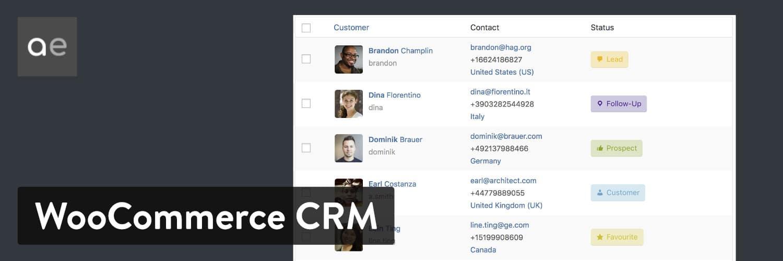WooCommerce Customer Relationship Manager WordPress plugin