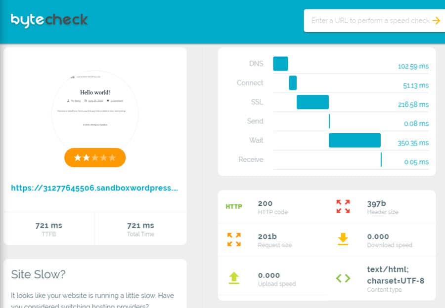 byte check - fastest wordpress theme
