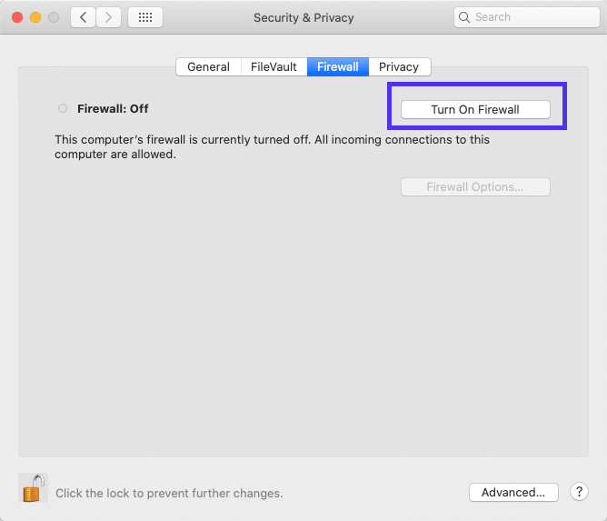 Brandväggs-program i macOS