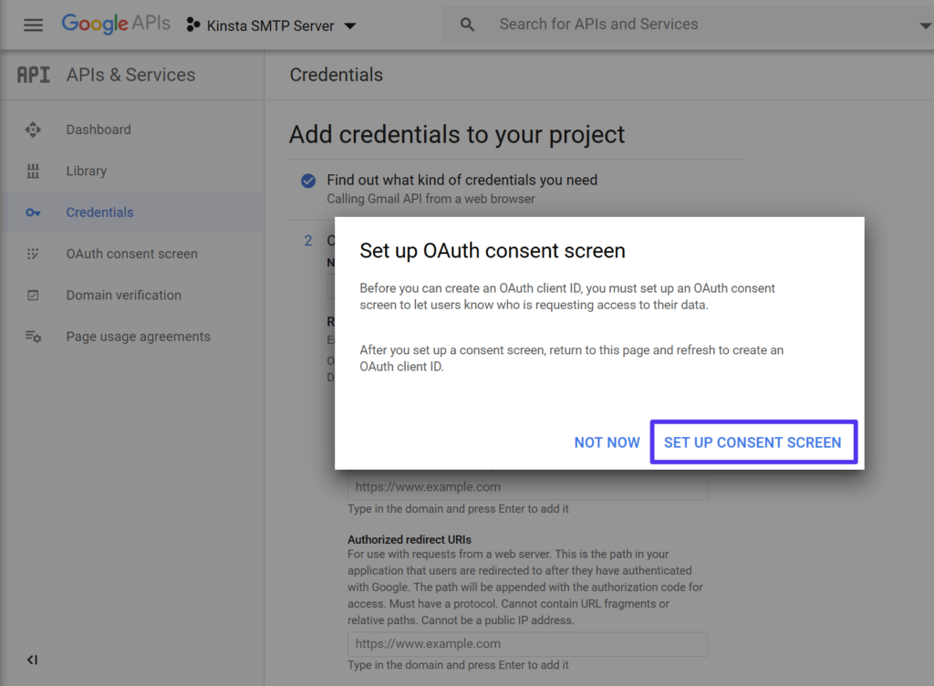 The prompt to create an OAuth consent screen