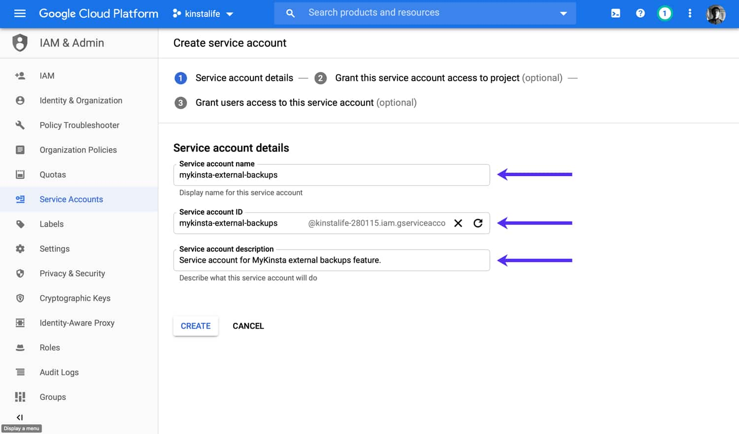 Specify user details for your GCP service account.
