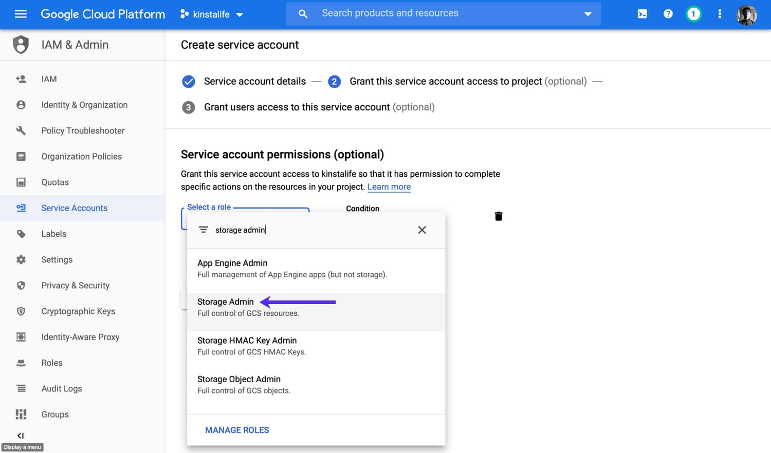 "Add ""Storage Admin"" permissions to your service account."