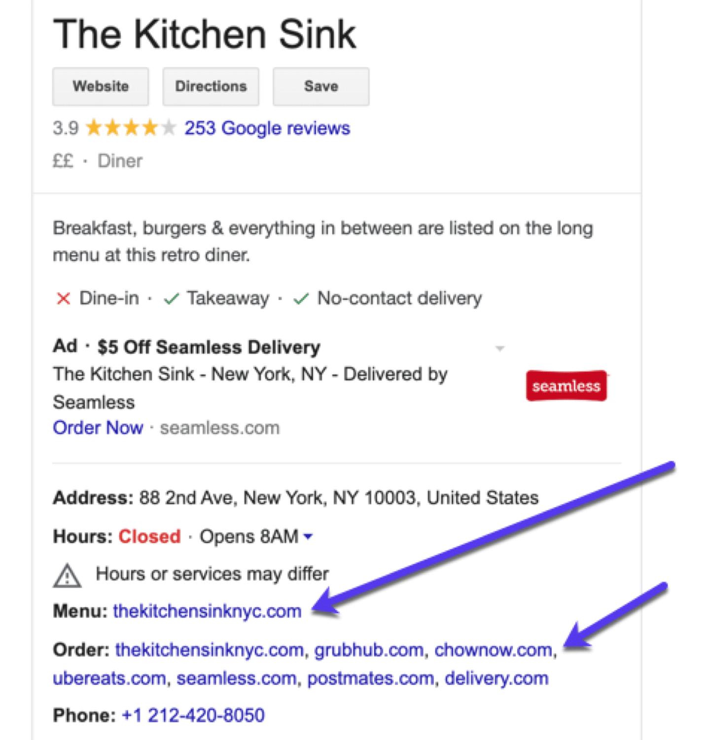 Run a restaurant? Add links to your menu + online orders